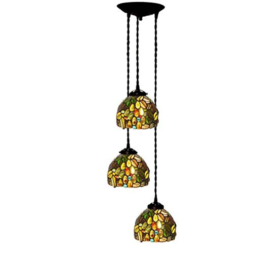 Tiffany Style Pendant Lights for Ceiling, 3 Heads 6 Inch Stained Glass Grape Pattern Art Shade Hanging Lamp 3-Light, 110-240 Without Light Source E27/E26