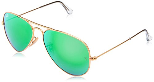 Ray-Ban AVIATOR LARGE METAL - MATTE GOLD Frame CRY.GREEN MIRROR MULTIL.GREEN Lenses 58mm Non-Polarized