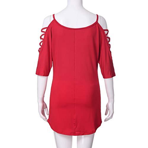 Casual Polo Longue Mode Femme Body Femme Shirt Manches Chemisier Blouse Femme Femmes Blouse Haut Sweat Red Levadis Femme Femme paules Veste Demi Chic Manche Batwing Froides vid dSwEA1