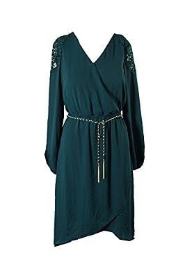 Thalia Sodi Green Crochet Trimmed High-Low Dress XS