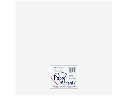 Accent Design Paper Accents ADP1212-2.128CB50 12 x 12 Heavy 50 Point White 2S Chipboard Cardstock