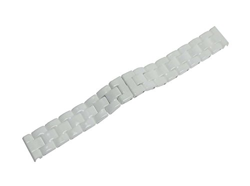RECHERE Ceramic Bracelet Watch Band Strap Deployment Invisible Double Folding Clasp Color White ()