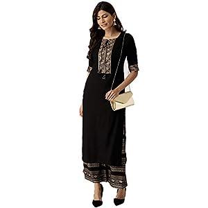 Amayra Women's Rayon Straight Kurti With Palazzos (Black)