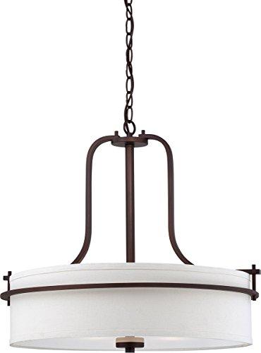 (Nuvo Lighting 60/5008 Loren Four Light Pendant 60 Watt A19 Max. White Linen Shade and Etched Opal Diffuser Venetian Bronze Fixture)