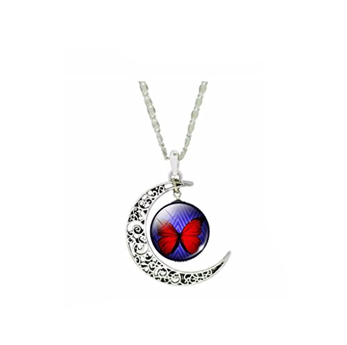 VDFR521 crescent Moon Necklace Glass Butterfly Collars for Women Vintage Silver Color Fine Jewelry (1)