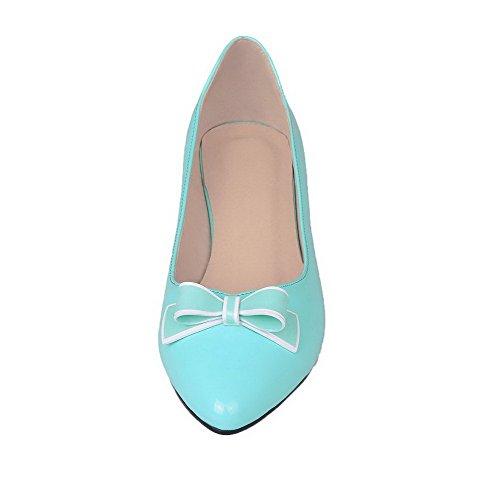 Bleu Pompes Des De Talons À Bas 39 Enfiler Solide Bout Chaussures Femmes À Odomolor Fermé Microfibre xITwf6I