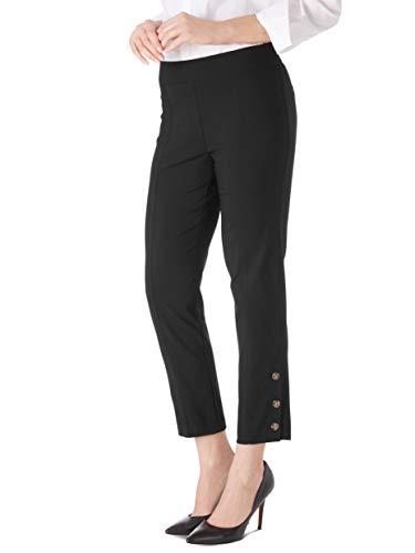 (89th + Madison Women's Button Cuff Comfort Waist Ankle Pants Black)