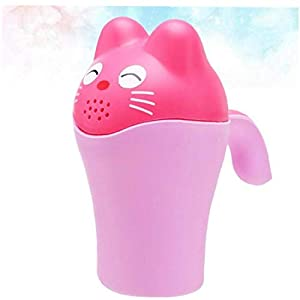 1pc Baby Shampoo Cup Cartoon Bear Bathing Cup with Easy-grip Handle Newborn Kid Shower Shampoo Cup Baby Shower Water…