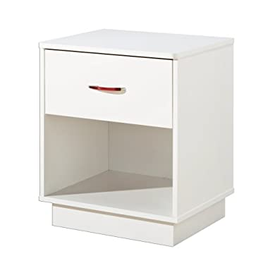 South Shore Logik 1-Drawer Nightstand, White with Metal Handle