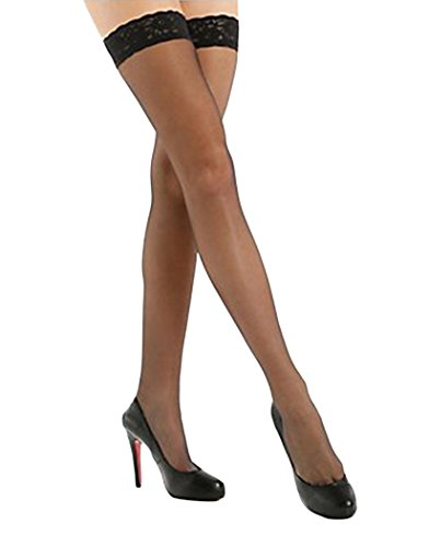 Sheer French Lace - HUE French Lace Thigh Highs Black 2