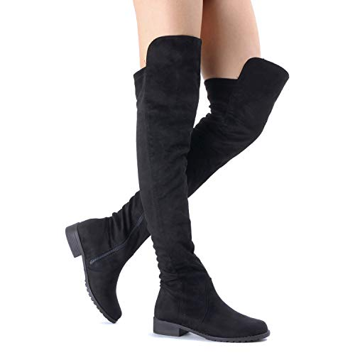 Guilty Heart Womens Casual Comfy Vegan Low Block Heel Thigh High Over The Knee Boots