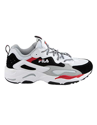 Fila Women's Ray Tracer Sneakers, WHT/BLK/HRIS, White, 7 M US