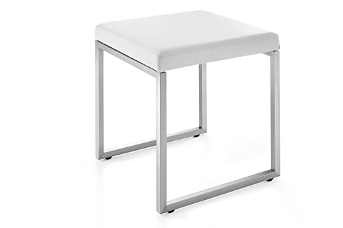 Zack 50632 White Cenius Stool, 18.11 by 15.75 by - Zack White Leather