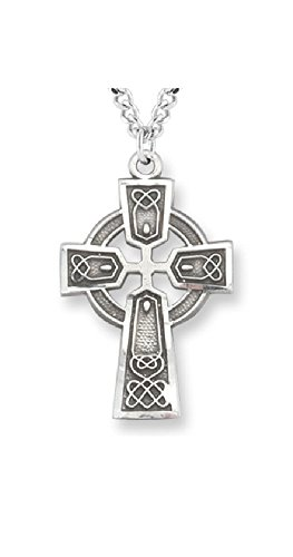 Celtic Cross Pendant Pewter Trinity Knot on 24 inch Stainless Steel Chain with Gift Box Cross Silver Pewter Pendant