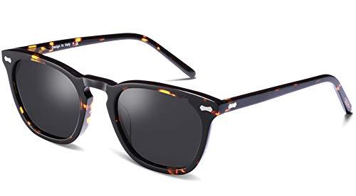 Carfia Vintage Polarized Sunglasses for Men UV400 Protection Acetate Frame (A:Grey Lens-2, Multicoloured) (Carfia Vintage Womens Polarized Sunglasses With Uv400 Protection)