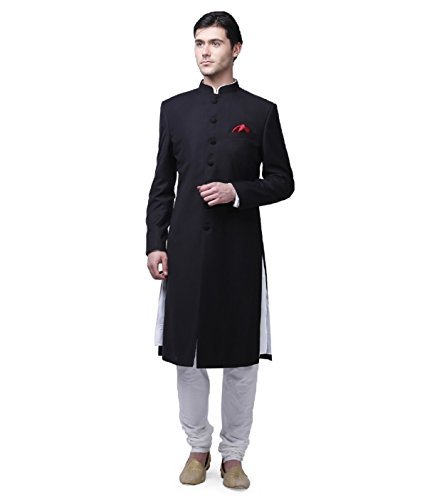 Traditional Mens Wear Long Knee Length Indowestern Marriage Sherwani (36, Black) by Royal