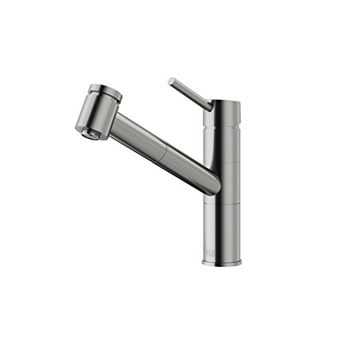 VIGO VG02021ST Branson Solid Brass Single Handle Pull Out Sprayer Kitchen Sink Faucet, Single Hole Install, 180-Degree Swivel Spout, Premium Stainless Steel Finish (Faucet Kitchen Vigo)