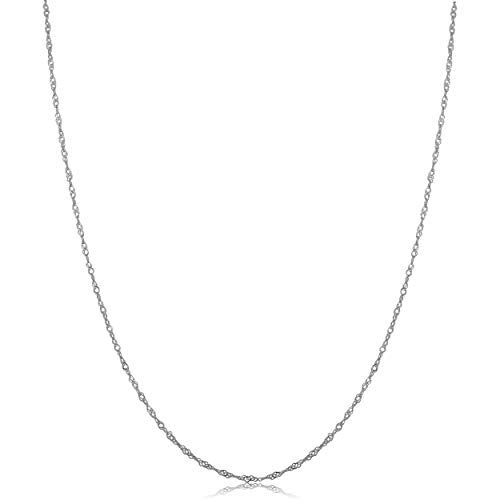 Kooljewelry 10k White Gold 0.7 mm Singapore Chain Necklace (18 inch) ()