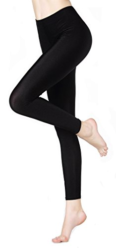 Dare Color Women's Winter Shiny Thick Elastic Leggings Pants Tights,Full Ankle Length Basic Shapewear Leggings(Small, Black)