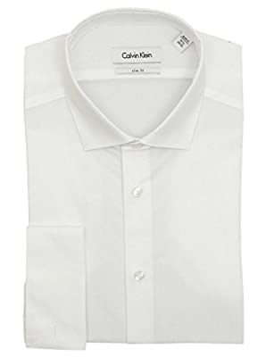Calvin Klein Mens Solid White Slim Fit French Cuff Cotton Dress Shirt