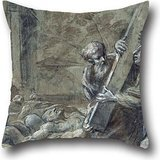 Throw Pillow Case Of Oil Painting Carlo Cesi - Saint Carlo Borromeo Among The Plague Sufferers 18 X 18 Inches / 45 By 45 Cm,best Fit For Lounge,gril Friend,festival,sofa,monther,club Each Side