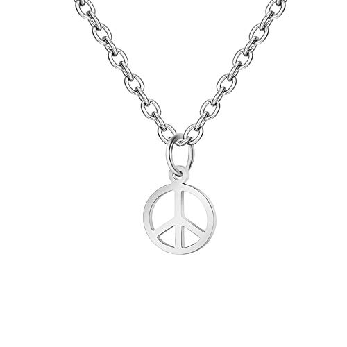 MIXIA Simple Stainless Steel Round Anti-War Peace Sign Symbol Pendant Necklace for Every One