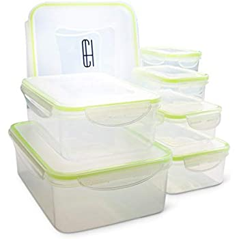 Casual Haus BPA Free Food Storage Containers Clear Plastic Rectangular Leak Proof Airtight Food Storage Containers With Lids 14 Piece Set (Light Green)