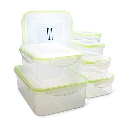 - Casual Haus BPA Free Food Storage Containers Clear Plastic Rectangular Leak Proof Airtight Food Storage Containers With Lids 14 Piece Set (Light Green)