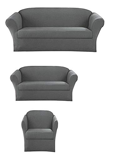 Elegant Home Stretch to Fit 3 Piece or 2 Piece or 1 Piece for Sofa Loveseat & Arm Chair Slipcover Furniture Protector # Stella (3 Piece Sofa Love Seat Chair (3PC), Light Grey)