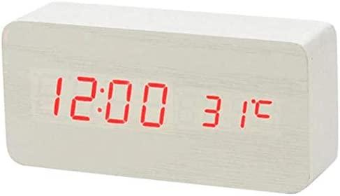 ZMCW LED Reloj Despertador de Madera Reloj de Mesa Control de Voz ...