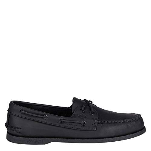SPERRY Men's A/O 2-Eye Boat Shoe, Black, 8.5 Wide