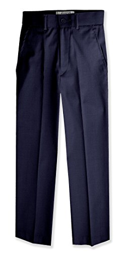 Boys Flat Front Slim Fit Dress Pants #JL36 (6, (Boys Navy Dress Pants)