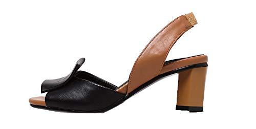 AalarDom Femme Ouverture Noir d'orteil à TSFLH007385 Correct Sandales Tire Talon pBwragpx