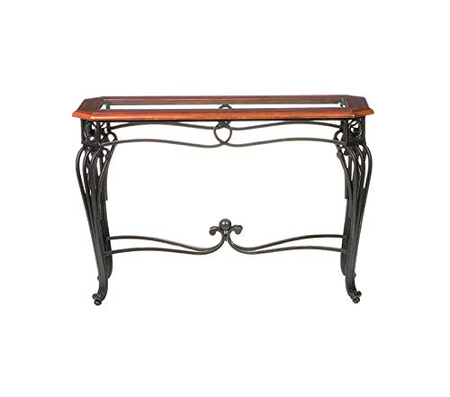 Sоuthеrn Еntеrprisеs Deluxe Premium Collection Prentice Sofa Console Table - Dark Cherry w/Black Metal Frame - Glass Top Decor Comfy Living Furniture