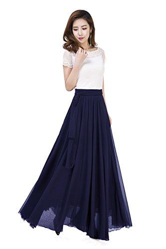 Women Summer Chiffon High Waist Pleated Big Hem Full/Ankle Length Beach Maxi Skirt(4XL /Navy Blue)