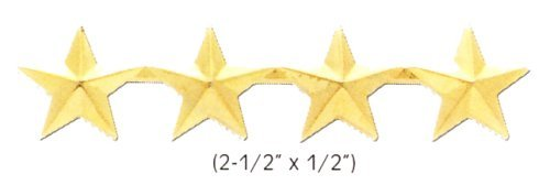 4 GOLD STAR ARMY MILITARY POLICE GENERAL COLLAR UNIFORM BRASS PINS INSIGNIA EMBLEM 1/2