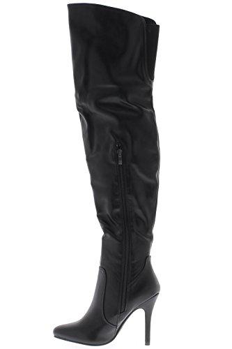 Schenkel-hohe Aufladungen schwarz auf 10,5 cm dünnen Absatz verdoppelt