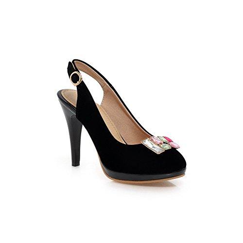 punta hebilla mujer para sandalias sólida redonda altos esmerilado VogueZone009 con tacones negras qd4Tqx