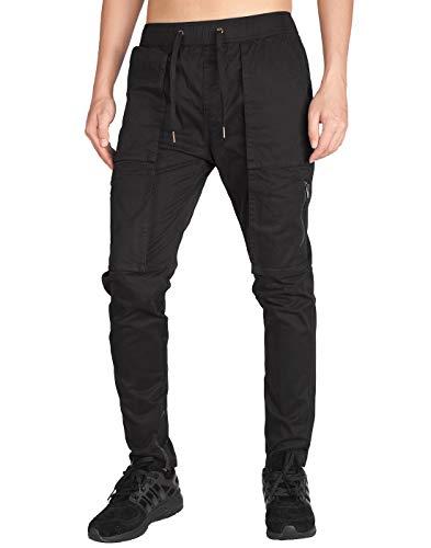 ITALY MORN Men's Chino Cargo Casual Pants L Black