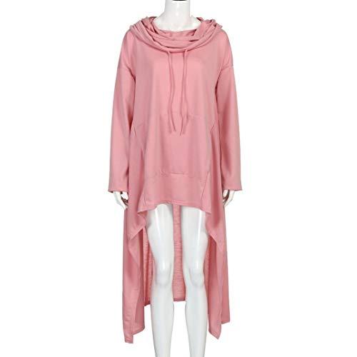 Rambling New Women's Pullover Irregular Hem Long Drawstring Loose Hoodie Top Dress by Rambling (Image #4)