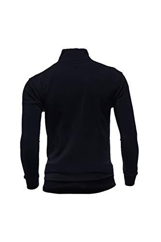 Shirts Plaine Loisirs Manteau Hommes Manches Cardigan Longues Noir Veste Zipper AfCwqP