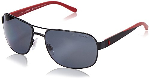 Polo Ralph Lauren Men's 0PH3093 Polarized Square Sunglasses, Mat Black,Polar,Greenback & Matte Red, 62 mm ()