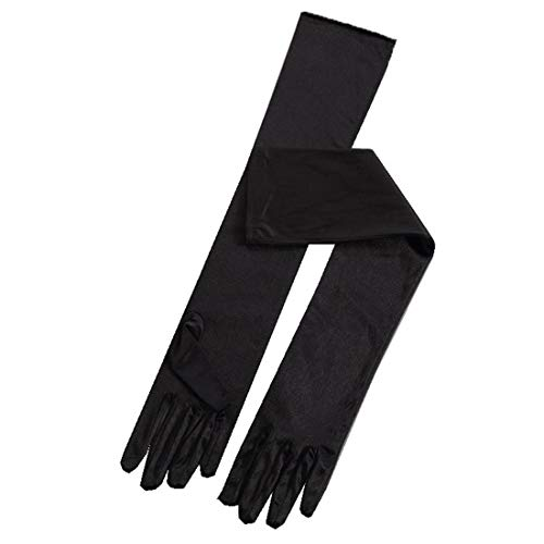 Satin Wedding Gloves Long For Women Elbow Length Black Evening Party Finger Gloves For Brides 21