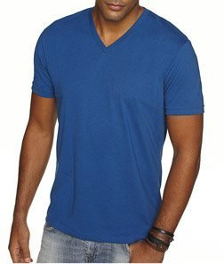 Next Level Apparel 6440 Mens Premium Fitted Sueded V-Neck Tee - Cool Blue, Extra Large