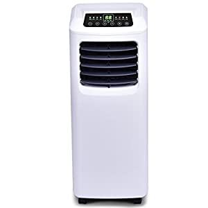 COSTWAY 10,000 BTU Portable Air Conditioner with Remote Control Dehumidifier Function Window Wall Mount (Black and White)