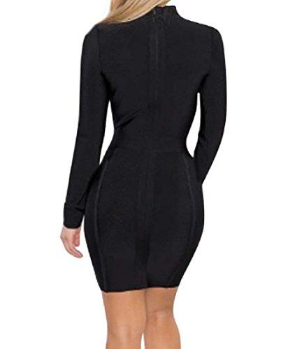 Femmes Coolred Élégante Robe Crayon Longue Robe De Soirée Stretch À Manches Noir