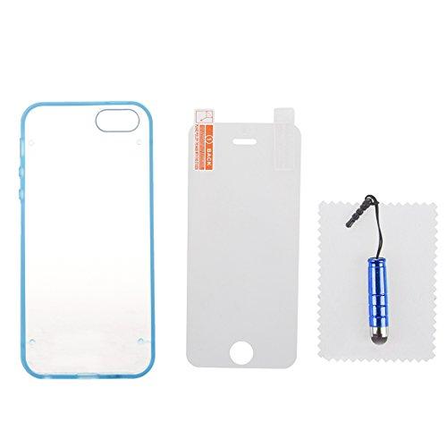 iPhone 5/ 5S TPU Case - TOOGOO(R)Ultraduenne Transparente Harte TPU Abdeckung mit Kristall fuer iPhone 5/ 5S Blau