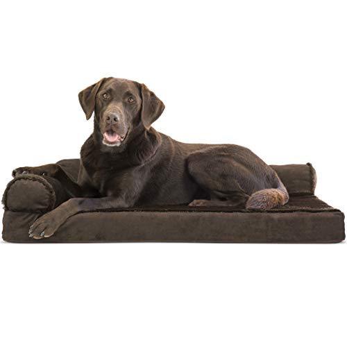 FurHaven Pet Dog Bed | Deluxe Orthopedic Plush & Velvet L-Shaped Chaise Lounge Pet Bed for Dogs & Cats, Sable Brown, Large