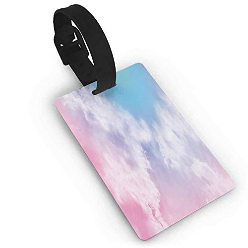 Funky Travel Luggage Tags Pastel,Fantasy Sky Abstraction Smoky Clouds Foggy Mystical Ethereal Composition,Light Pink Aqua White One Size Bag Pendant