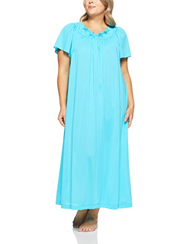 Shadowline Women's Plus Size Petals 53 Inch Short Flutter Sleeve Long Gown, Turquoise, 1X
